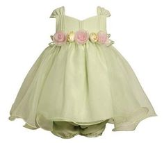 Bonnie Jean Light Green Dress Size 24m Pink Rosette Easter Baby Girl