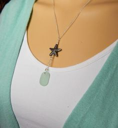 Sweet piece of genuine aqua sea glass is perfect for this beautiful Fine Silver Starfish Y necklace! However, I have a variety of colors to choose from. Please see the menu on the right. The sea glass