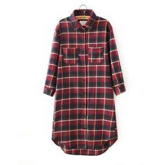 Autumn Fashion Lady Red Plaid Cotton Shirt Dresses For Women Turn Down Collar Pocket Casual Brand Brand Vestidos Femininos