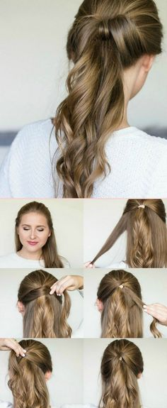 Bow with a Bow Ponytail - Simple Hair Tutorial - Quick Hairstyles 2020 Fancy Ponytail, Bun Braid, Bun Bow, 5 Minute Hairstyles, No Heat Hairstyles, Trendy Hairstyles, Easy Ponytail Hairstyles, Easy And Cute Hairstyles, Long Hair Styles