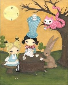 mad tea party (the poppy tree) Tags: trees sun tree cute rabbit bunny art clock fairytale forest cat painting print cheshire alice kitty canvas story stump teapot mad teacup whimsical hatter inwonderland thepoppytree Alice In Wonderland Print, Adventures In Wonderland, Chesire Cat, Whatsapp Wallpaper, Lewis Carroll, Illustrations, Whimsical Art, Conte, Disney Art
