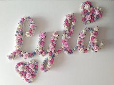 Nursery Name Decor, Name Wall Decor, Name Wall Art, Nursery Wall Art, Baby Name Letters, Nursery Letters, Baby Name Decorations, Baby Names Flowers, New Baby Girl Names