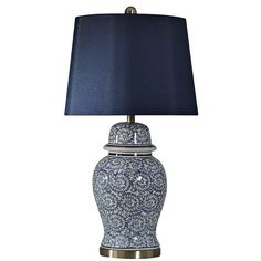 Chinese Blue Ginger Jar Table Lamp ($160) ❤ liked on Polyvore featuring home, lighting, table lamps, blue shades, chinese lamps, chinese ginger jar, chinese table lamps and blue shade