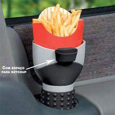 As batatas do Fastfood no porta-copos do seu carro (e com espaço pra ketchup!)