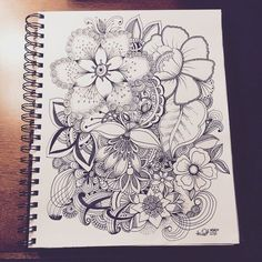doodle flower black and white Zentangle Drawings, Doodle Drawings, Zentangles, Ink Doodles, Flower Doodles, Doodle Patterns, Zentangle Patterns, Blatt Tattoos, Doodle Art Journals