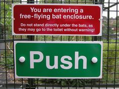 """""""A humorous notice in the Bat Enclosure, Bristol Zoo, Bristol, England.""""  [Photographed by Adrian Pingstone - September 2005]'h4d'120918"""