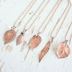 One-of-a-kind jewelry made from actual copper-plated leaves. #etsy #etsyfinds