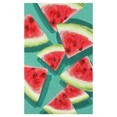 Hand-hooked rug with a watermelon motif.  Product: RugConstruction Material: 100% PolyesterColor: