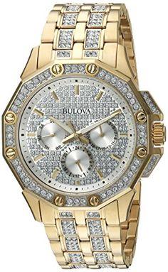 Bulova Men's Swarovski Crystal Pave Bracelet Watch Fancy Watches, Cool Watches, Watches For Men, Luxury Watches, Cheap Designer Watches, Bulova Mens Watches, Luxury Watch Brands, Popular Watches, Bracelets For Men