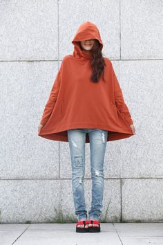 Lagenlook Hoodie Cape Style Top Fashionable Hooded Cotton Top in Dark Orange for…
