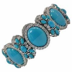 Turquoise Diamond White Gold Bracelet