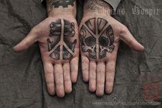 ✿ Tattoos by Thomas Hooper at Saved Tattoo in Brooklyn, NY ✿ Tattoo Design Book, Sparrow Tattoo Design, Tattoo Designs, Finger Tattoos, Body Art Tattoos, Cool Tattoos, Piercings, Piercing Tattoo, Rock Of Ages Tattoo