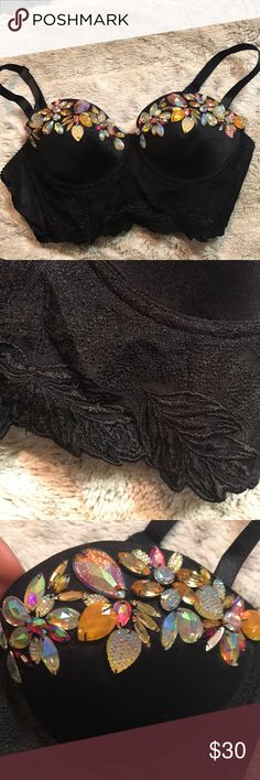 Bebe rhinestone bra top Gorgeous rhinestone bra top from Bebe, leaf lace trimming! Never worn bebe Tops