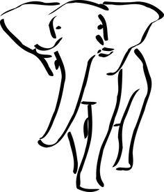 Vector Line Art Illustration Of An African Elephant Stock Photo