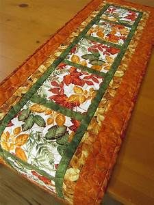 Quilted Table Runner Handmade Leaves