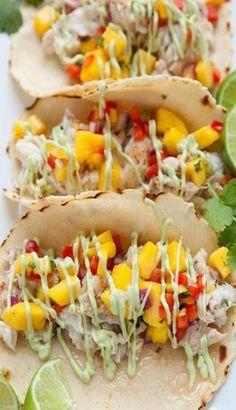 Fish Tacos with Mango Salsa and Avocado Cream Sauce