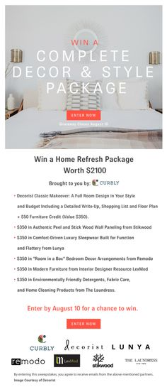 $2100 Home Refresh Sweepstakes! I'm in. Are you? Good luck! Prizes from: @lexmod @lunyaco @decorist @curbly @stikwooddesign @remodo @thelaundressny