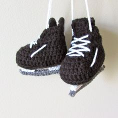 Learn to crochet these little hockey skates with this free pattern.