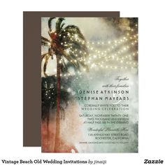 Vintage Beach Old Wedding Invitations
