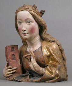 Reliquary Bust of Saint Barbara Workshop of Niclaus Gerhaert von Leyden (North Netherlandish, active Strasbourg, ca. Medieval World, Medieval Art, Saint Barbara, Famous Historical Figures, Renaissance Portraits, Ceramic Figures, Gothic Art, Female Images, Religious Art