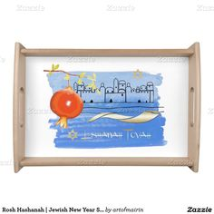 Shofar, Star of David and Pomegranate Design Jewish New Year | Rosh Hashanah Serving Tray | Challah Board. A great addition to your Rosh Hashanah Celebration Dinner. at zazzle.com