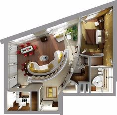 I wonder if I'd be able to pull it off. 3d House Plans, Model House Plan, Small House Plans, Home Interior Design, Interior Architecture, Apartment Floor Plans, Floor Plan Layout, Apartment Layout, Sims House