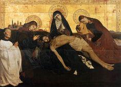 Enguerrand Quarton, Pietà de Villeneuve-lès-Avignon, v. 1145, tempera sur bois, 163x218 cm, Paris, Musée du Louvre