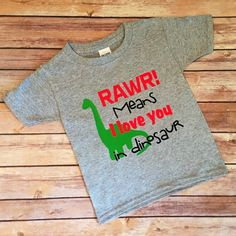 RAWR Means I love you in Dinosaur. Perfect shirt for your little gal or dude! This design is commercial grade heat transfer vinyl and is pressed with a professional grade heat press.  Sizing Options:  Infant Sizes: 6 Month 12 Month 18 Month 24 Month  Toddler Sizes: 2T 3T 4T 5T 6T  Youth Sizes: X-Small Small Medium Large X-Large  **Due to different types of monitors, colors may be slightly different in person**  Care Instructions: Turn inside out. Machine wash on cold. Tumble dry on low to…