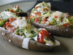 Cheesy Stuffed Eggplant With Broccoli, Tomatoes And Leeks Recipe