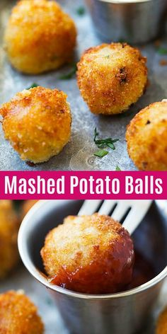 Mashed Potato Balls - crispy fried mashed potato balls loaded with bacon and cheddar cheese. The best recipe to use up leftover mashed potatoes.
