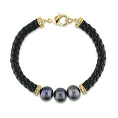 Brass Freshwater Black Pearl Black Leather cord Bracelet Amour. $34.99. Save 30% Off!
