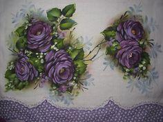 pano de prato rosas lilás...À Venda