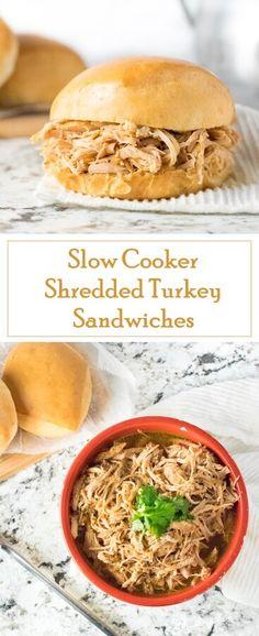 Slow Cooker Shredded Turkey Sandwiches recipe via @foxvalleyfoodie