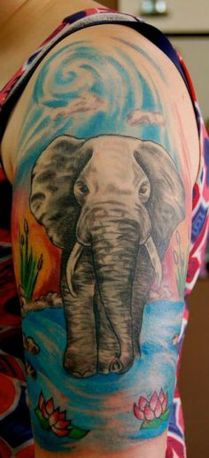 Done by Lexi. Calgary, Canada. Barron Tattoo Studio.   http://www.barrontattoo.com/    I got this elephant to represent my daughter Ella. We share the same love for elephants, beautiful, smart and loving creatures. <3