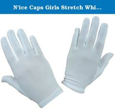 N'ice Caps Girls Stretch White Special Occasion Parade Gloves (6-10yrs). N'Ice Caps TM girls white nylon stretch glove for many special occasions. Color: white. Available in 4 sizes: One size fits 1-3yrs, 0ne size fits 4-7yrs, one size fits 8-12yrs, one size fits 13-15yrs.