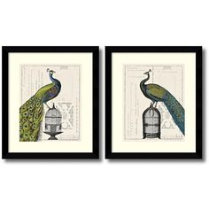 ''Peacock Birdcage'' 2-Piece Framed Art Print Set by Sue Schlabach (385 CAD) ❤ liked on Polyvore featuring home, home decor, wall art, other clrs, bird cage home decor, peacock home decor, framed wall art, peacock framed wall art and vertical wall art