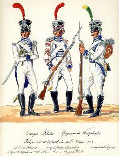 Ufficiale e sottufficiale dei granatieri e sergente dei volteggiatori del reggimento della regina