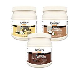 Beveri Whey Protein rBGH Free Isolate with Probiotic, Pack of 3, 12 Ounce (Chocolate Fudge, French Vanilla and Coconut) *** To view further for this article, visit the image link. #CoconutDrinks