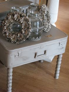 """Love this sweet little suitcase table (from """"Junk and Stuff"""" at """"Through The Garden Gate"""")"""