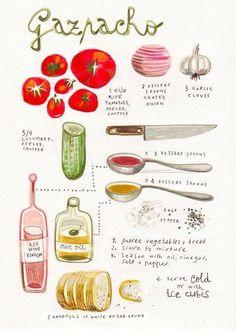 Een mooie illustratie van een heerlijk recept voor #Gazpacho. Wij weten wel wat er vanavond op tafel staat!