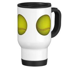 Yellow Softball With Purple Stitches Mugs