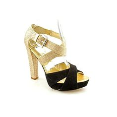 Aqua Moxie Womens Size 75 Gold Open Toe Leather Platforms Shoes -- Click image for more details.(This is an Amazon affiliate link and I receive a commission for the sales)