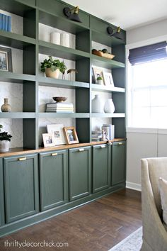 Ten DIY/home projects to keep you busy while stuck at home! from Thrifty Decor Chick Built In Shelves Living Room, Bookshelves Built In, Built In Desk, Built In Cabinets, Bookcases, Office Wall Cabinets, Home Design, Home Office Design, Home Office Decor