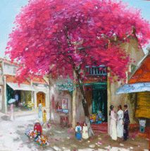 "Hanoi old quarter, 24x24"" Vietnamese actual hand painted oil painting by Phuong -  $149.95.  This is an unframed, actual hand-painted commision painting on canvas from my original.  Rolled and delivered in a hard tube ready for framing.  http://www.bonanza.com/listings/Hanoi-old-quarter-24x24-Vietnamese-actual-hand-painted-oil-painting/37640712"
