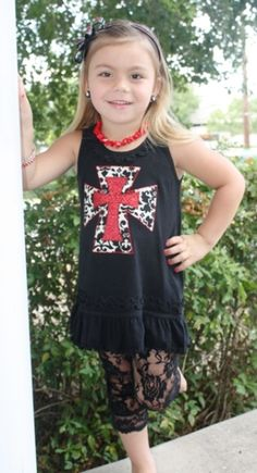 SALE Baby Glamour Black Tunic Dress with Demask Cross $15.00 www.gugonline.com