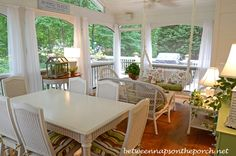 Screened-In Porch with White Wicker Furniture Sunroom Furniture, Sectional Furniture, Outdoor Wicker Furniture, Arrange Furniture, Luxury Furniture, Furniture Ideas, Electrical Cord Covers, Screened In Patio, Front Porch