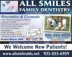 Ad Design Examples - All Smiles Family Dentistry  Image Marketing Pros 615-200-7717 Nashville 865-291-0373 Knoxville