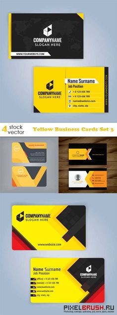 Vectors - Yellow Business Cards Set 3