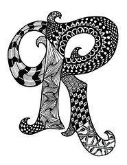 Zentangle Art Art - Zentangle Letter R Monogram by Nan Wright