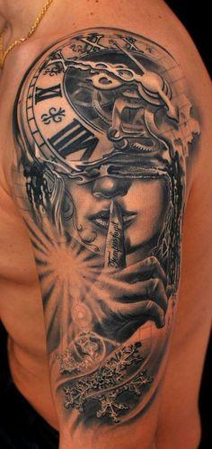 "Tetovēšanas Salons TattooFrequency - ""Tempus fugit"" Time flies… detailed black and gray custom tattoo. Artist M - Man With Tattoos, Great Tattoos, Beautiful Tattoos, Body Art Tattoos, New Tattoos, Tattoos For Guys, Tatoos, Woman Tattoos, Buddha Tattoos"